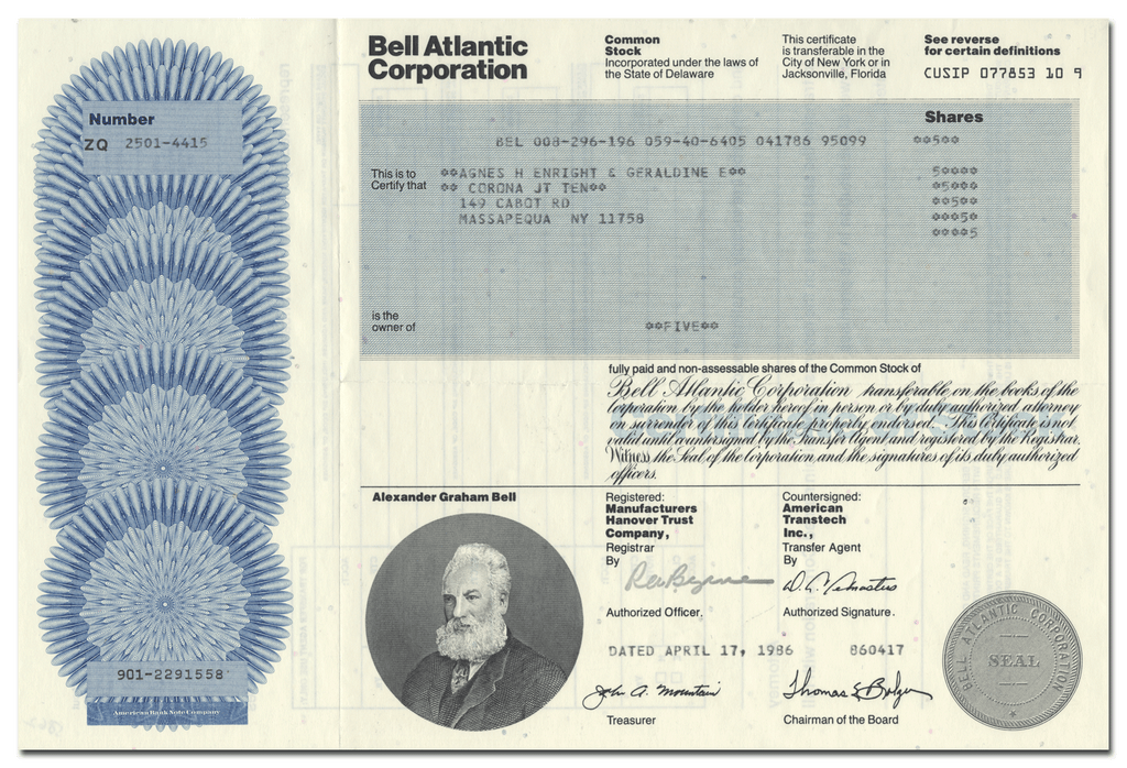 Bell Atlantic Corporation Stock Certificate