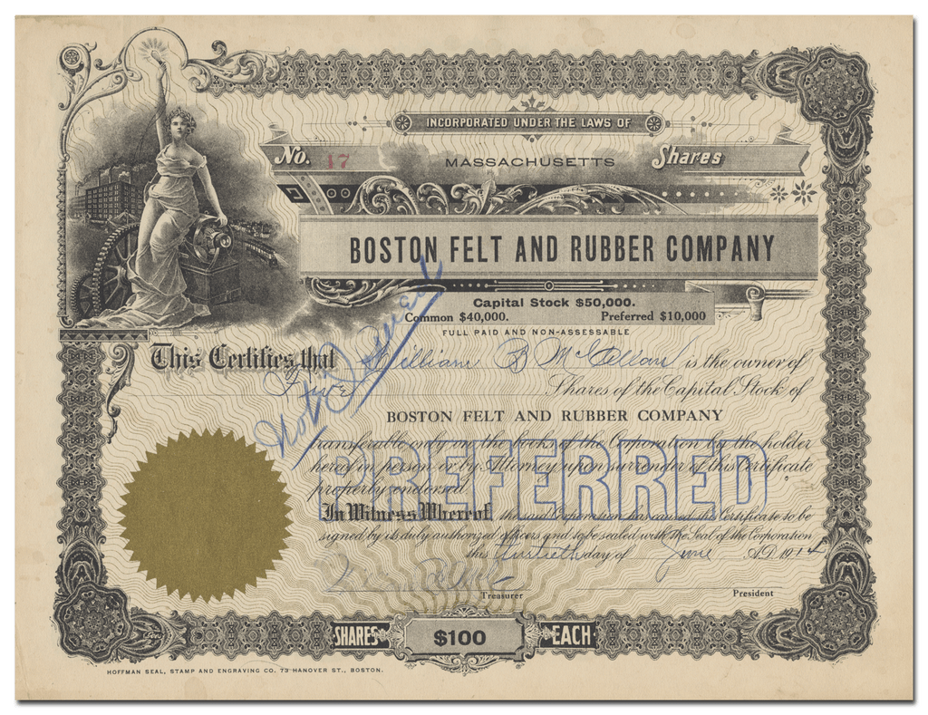 Boston Felt and Rubber Company Stock Certificate