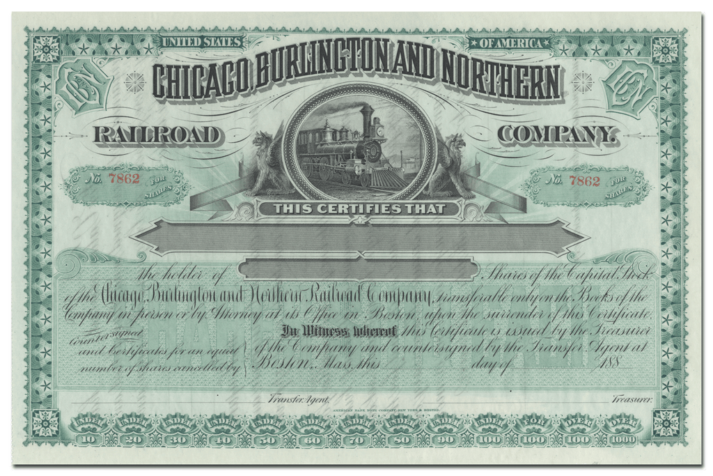 Chicago, Burlington and Northern Railroad Company Stock Certificate