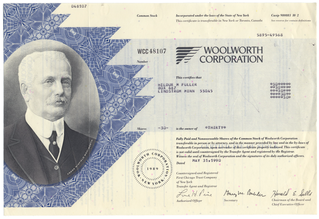 Woolworth Corporation Stock Certificate