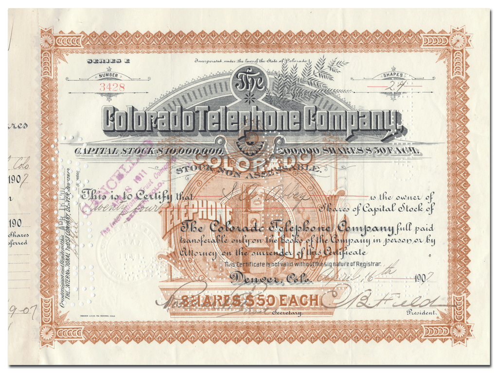 Colorado Telephone Company Stock Certificate