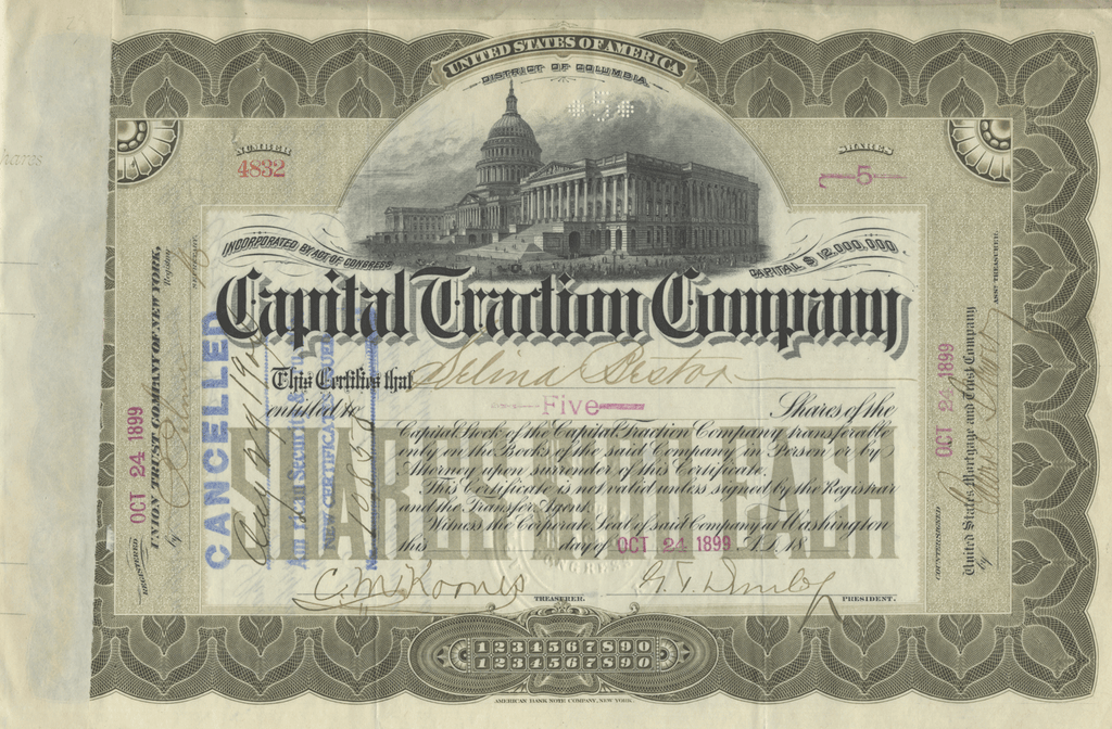 Capital Traction Company Stock Certificate
