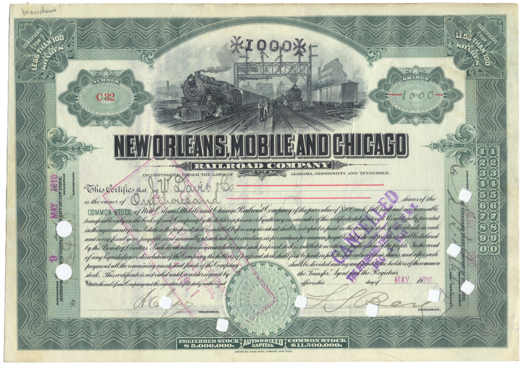 New Orleans, Mobile and Chicago Railroad Company Stock Certificate