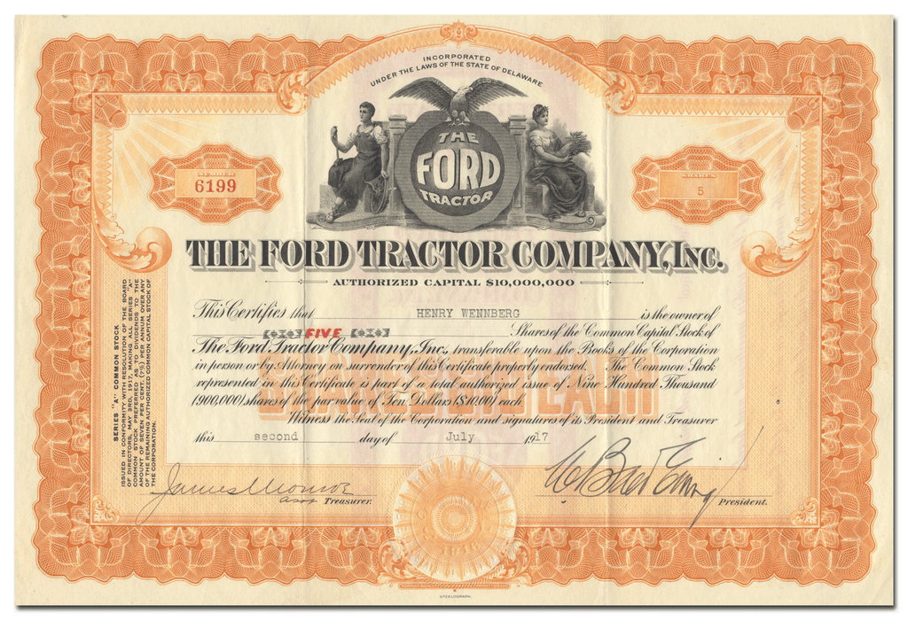 Ford Tractor Company, Inc. Stock Certificate
