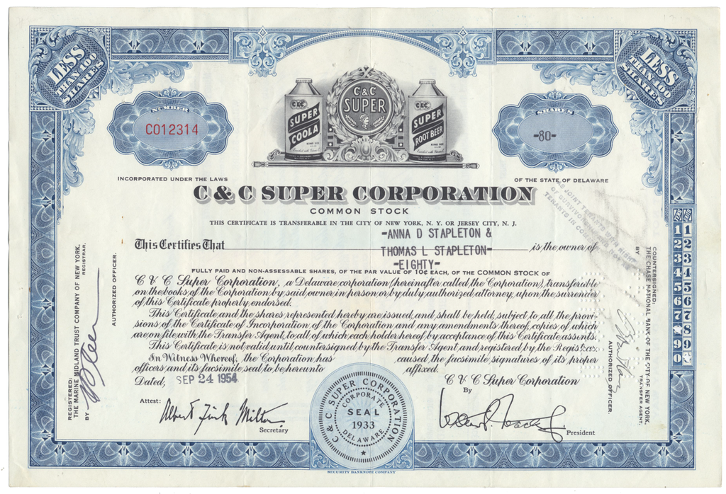 C & C Super Corporation Stock Certificate