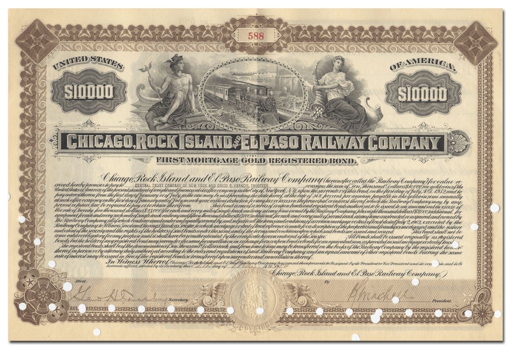 Chicago, Rock Island and El Paso Railway Company Bond Certificate
