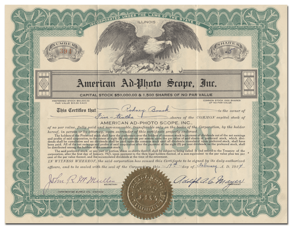American Ad-Photo Scope, Inc. Stock Certificate