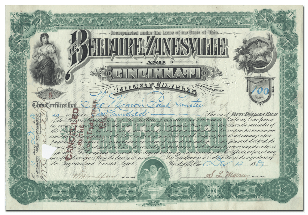 Bellaire Zanesville and Cincinnati Railway Company Stock Certificate
