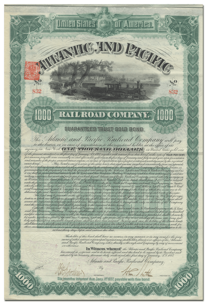 Atlantic and Pacific Railroad Company Bond Certificate