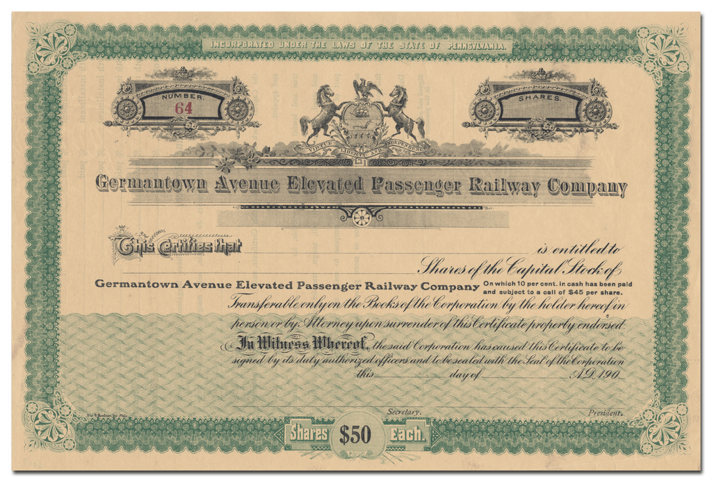 Germantown Avenue Elevated Passenger Railway Company Stock Certificate