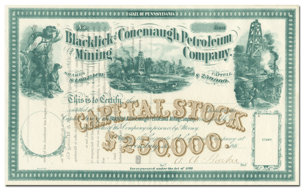 Blacklick and Conemaugh Petroleum and Mining Company Stock Certificate