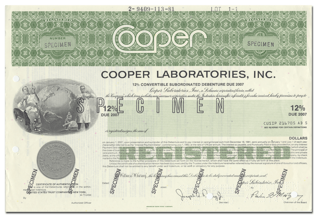 Cooper Laboratories, Inc. Specimen Bond Certificate