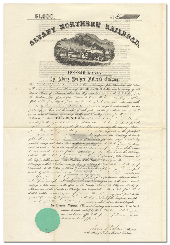Albany Northern Railroad Co. Bond Certificate Signed by Erastus Corning