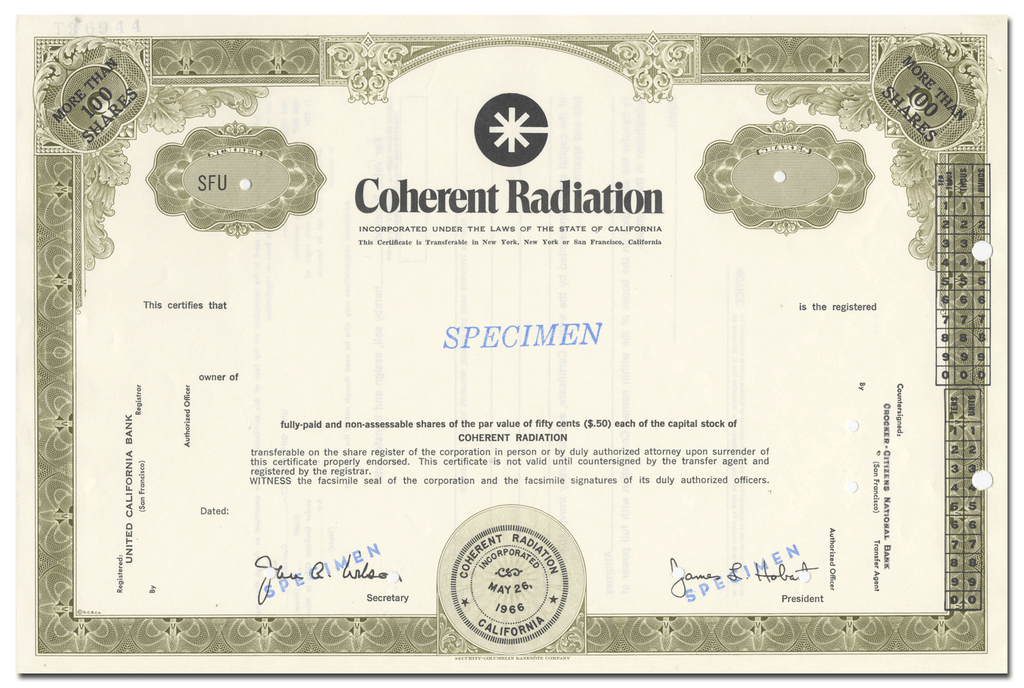 Coherent Radiation Incorporated Specimen Stock Certificate