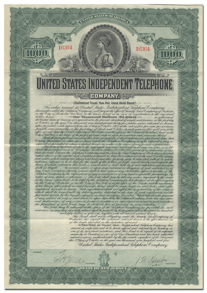 United States Independent Telephone Company Bond Certificate