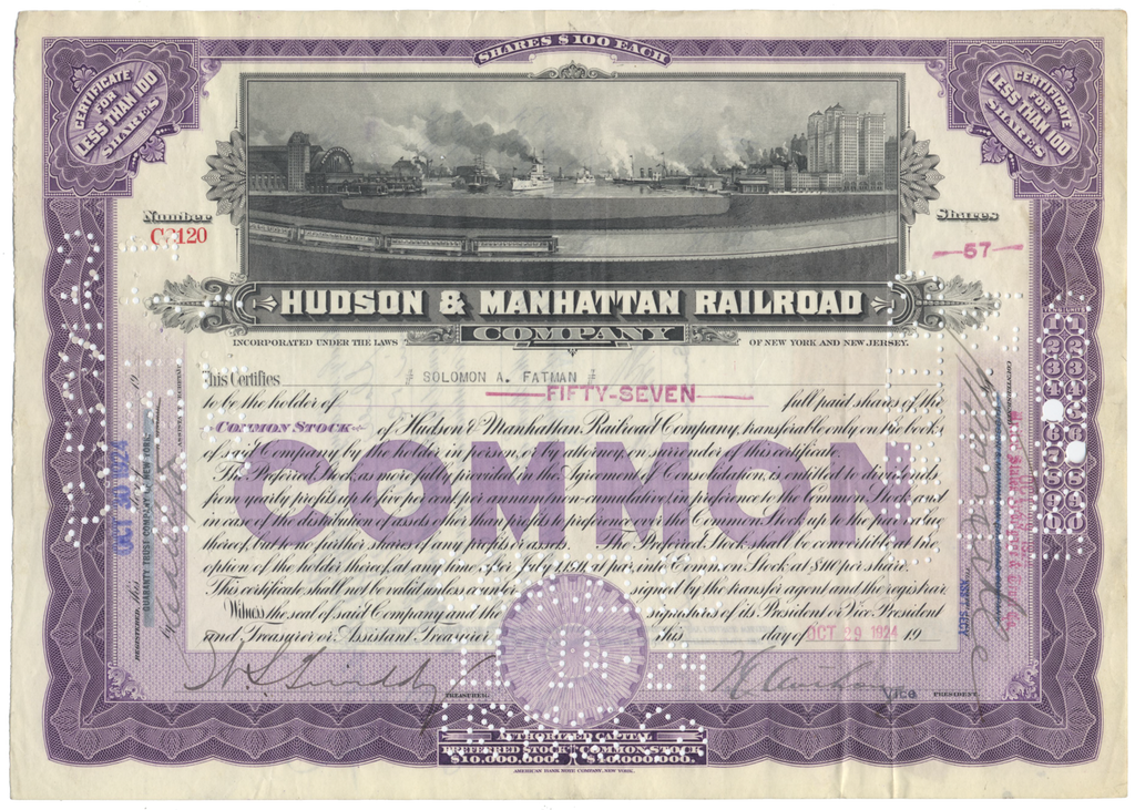 Hudson & Manhattan Railroad Company Stock Certificate