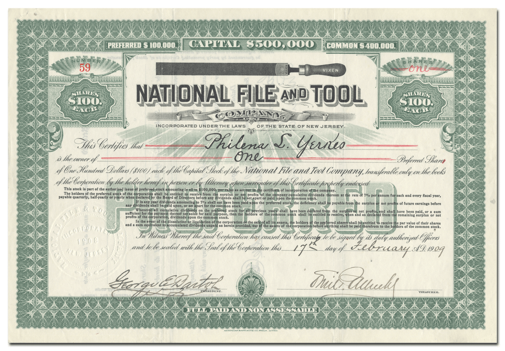 National File and Tool Company Stock Certificate
