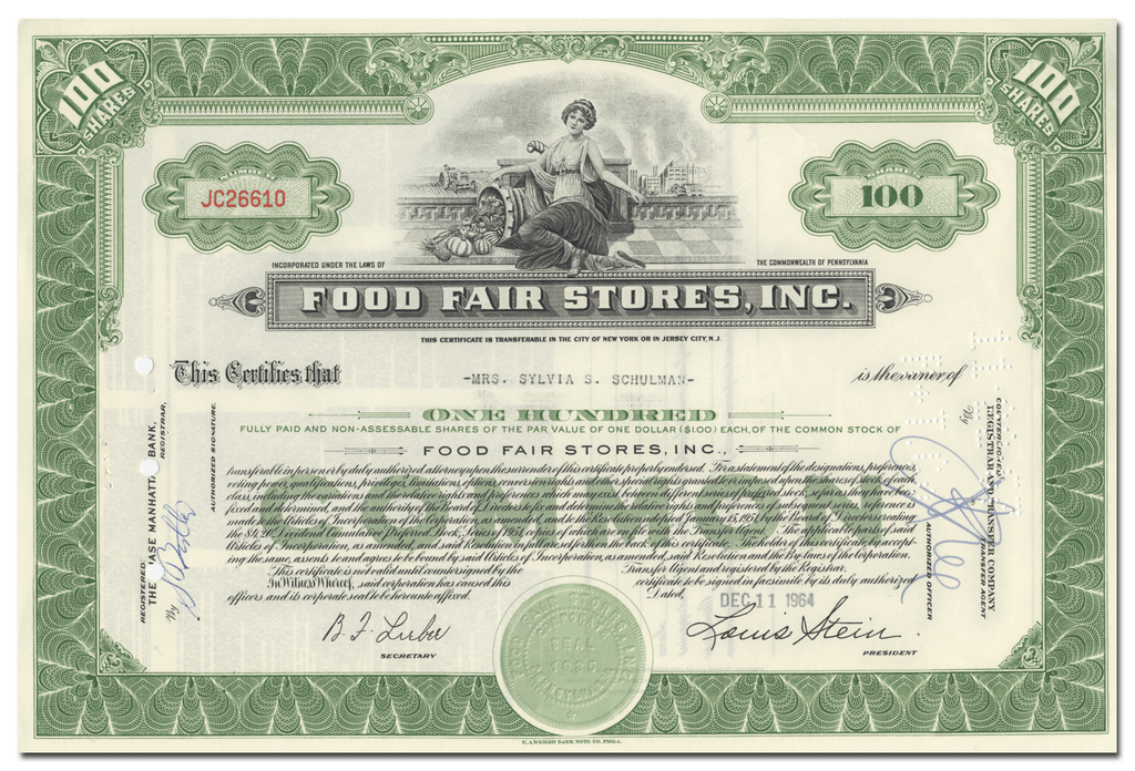 Food Fair Stores, Inc. Stock Certificate