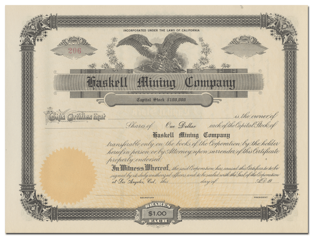 Haskell Mining Company Stock Certificate
