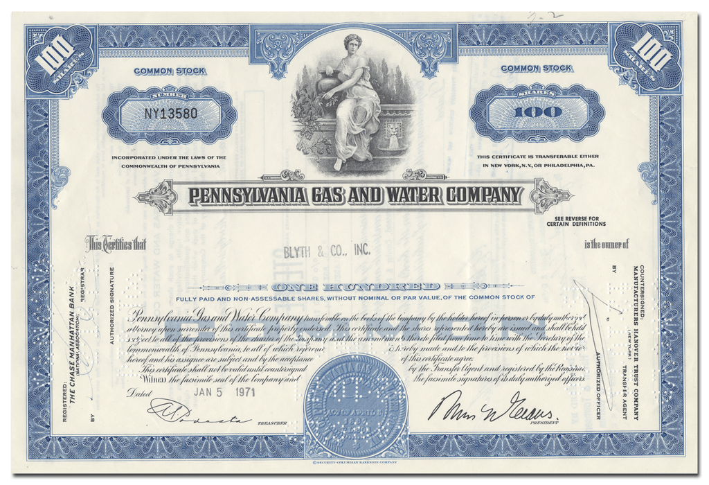 Pennsylvania Gas and Water Company Stock Certificate