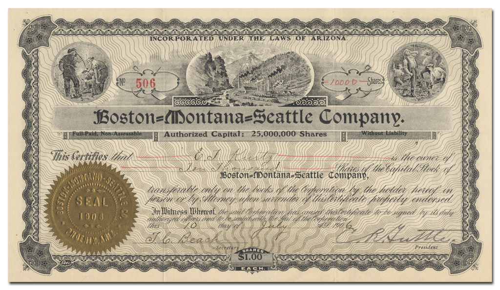 Boston=Montana=Seatlle Company Stock Certificate