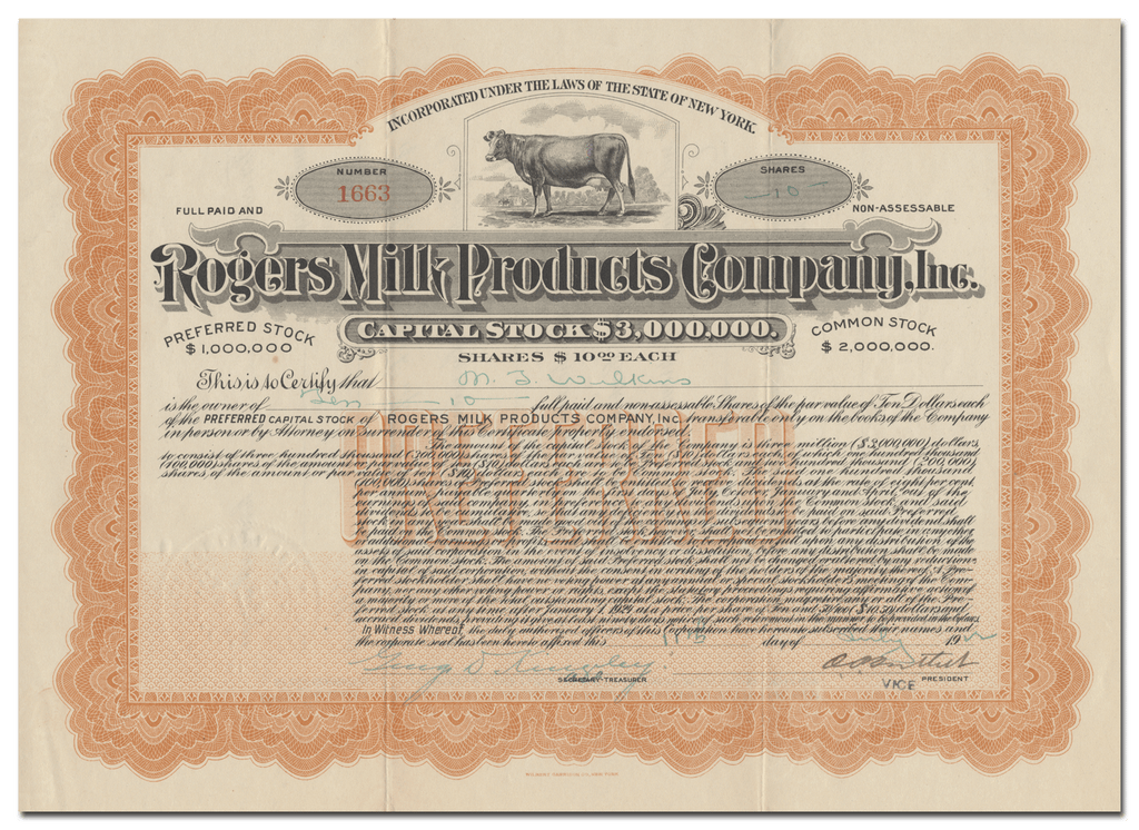 Rogers Milk Products Company, Inc. Stock Ccertificate