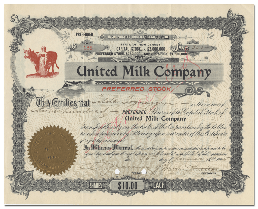 United Milk Company Stock Certificate