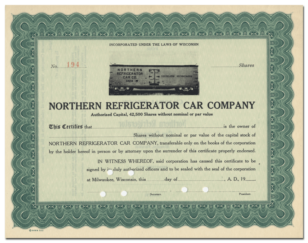 Northern Refrigerator Car Company Stock Certificate