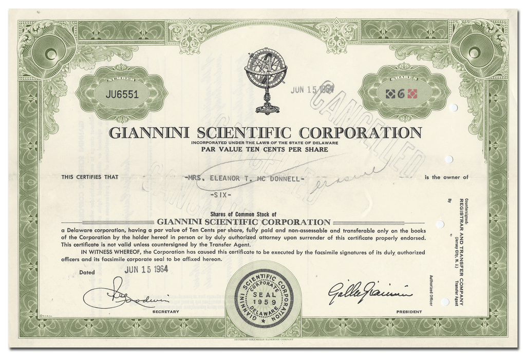 Giannini Scientific Corporation Stock Certificate