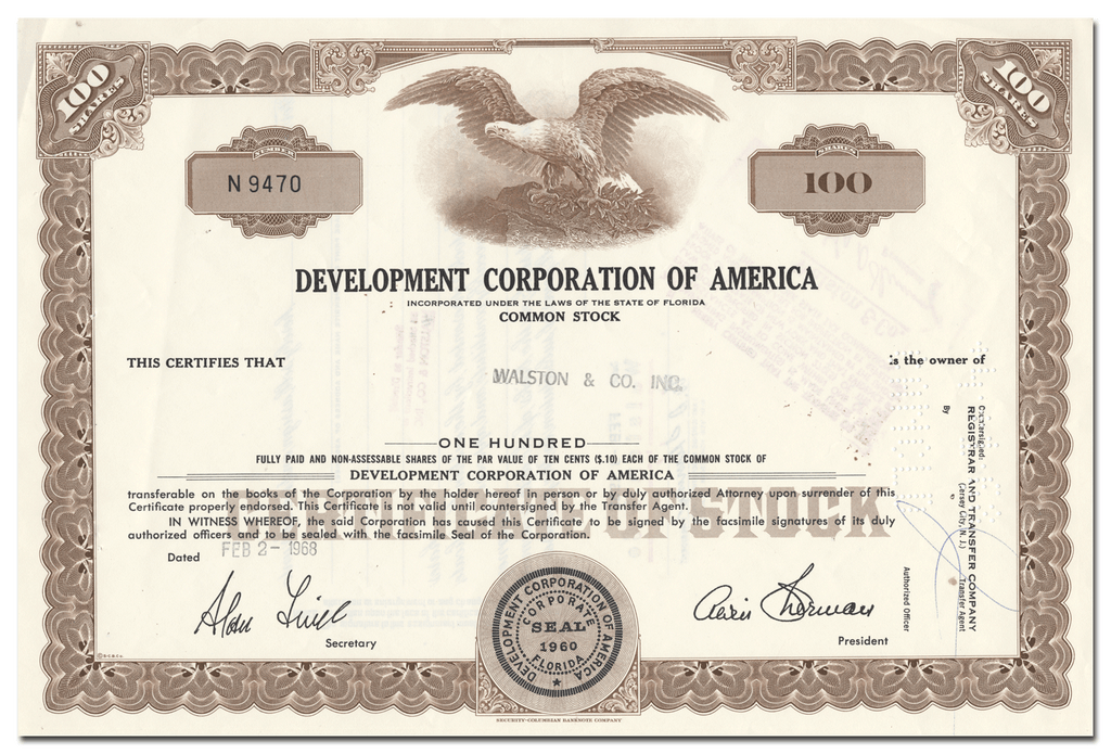 Development Corporation of America Stock Certificate