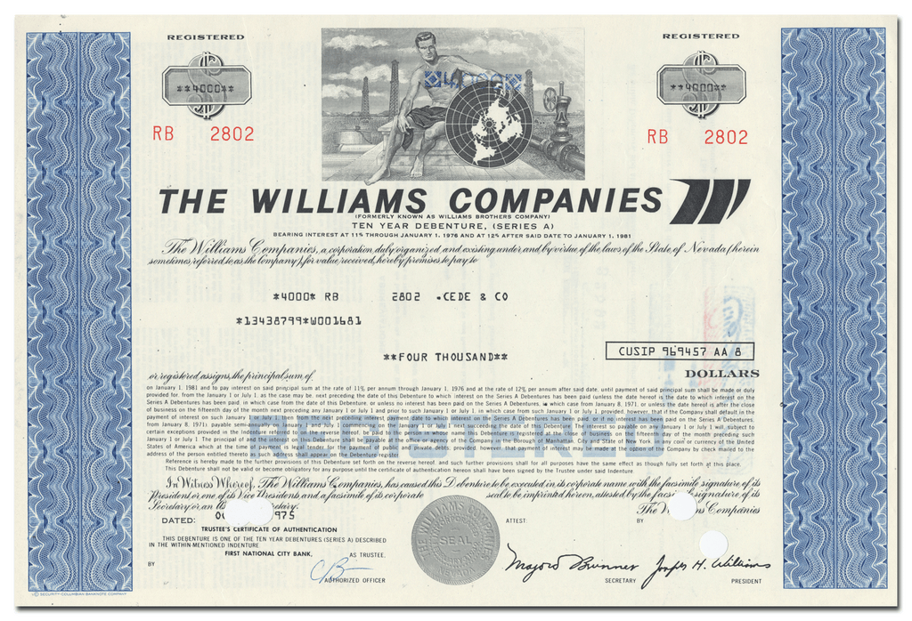 Williams Companies Bond Certificate