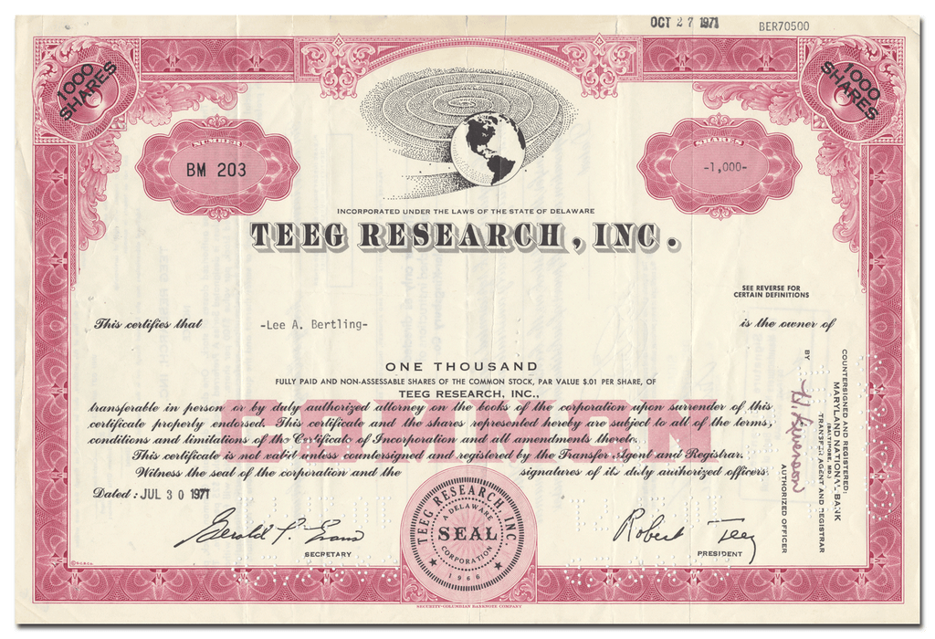 Teeg Research, Inc. Stock Certificate