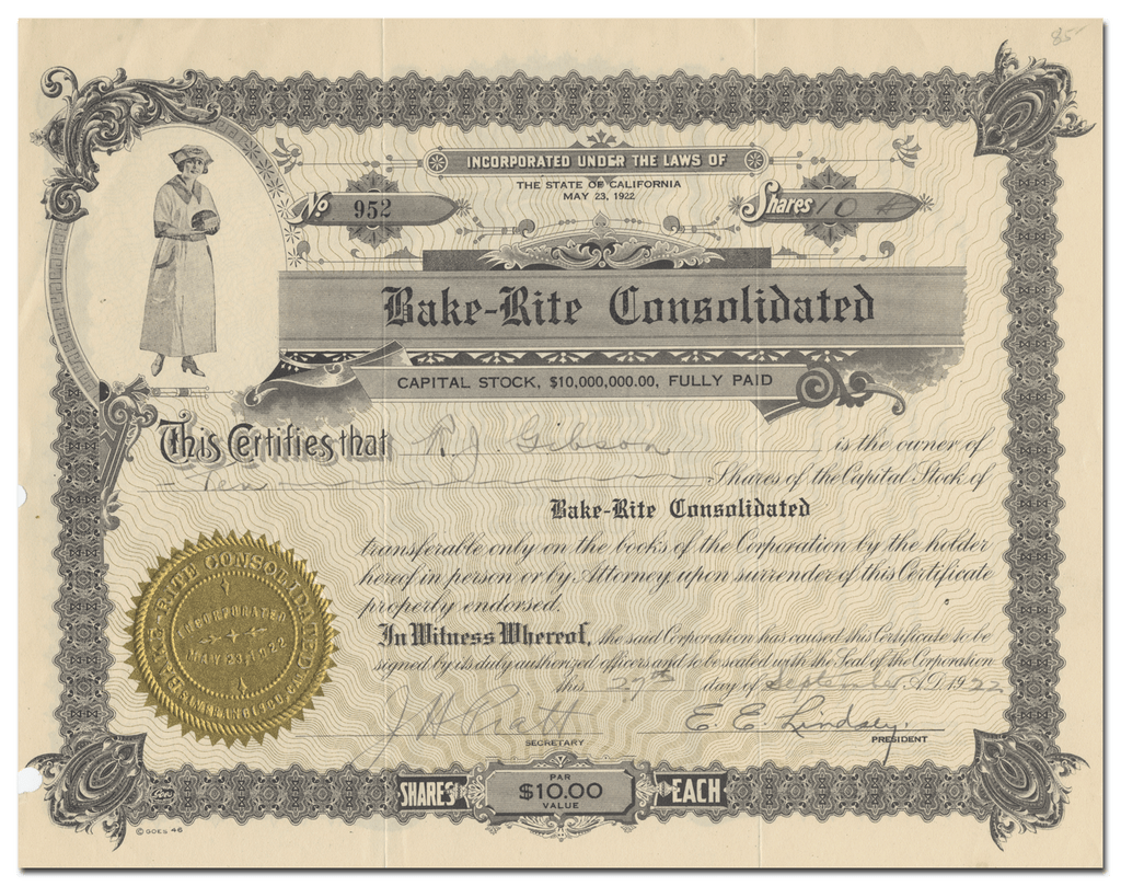 Bake-Rite Consolidated Stock Certificate