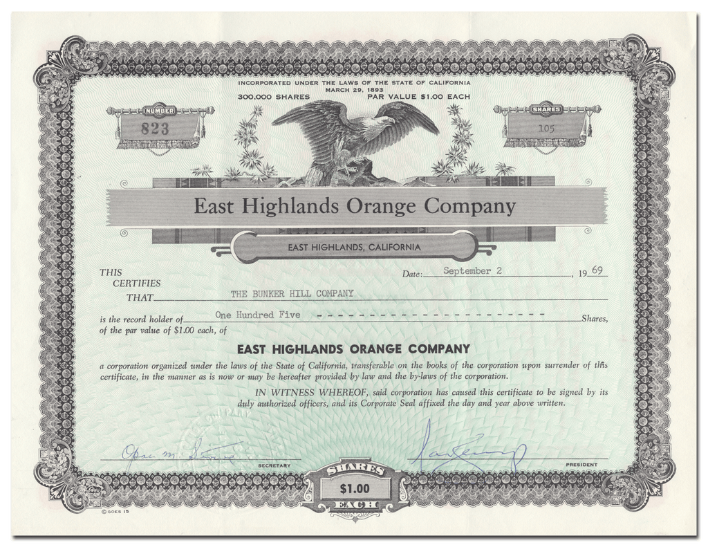 East Highlands Orange Company Stock Certificate