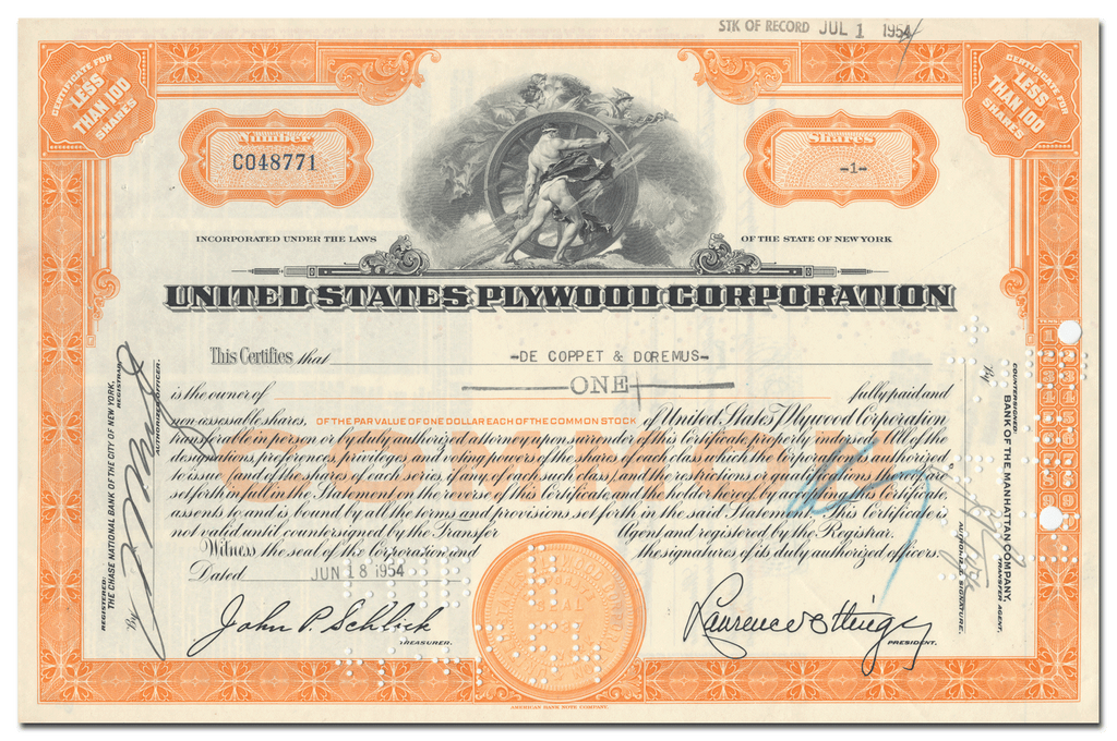 United States Plywood Corporation Stock Certificate