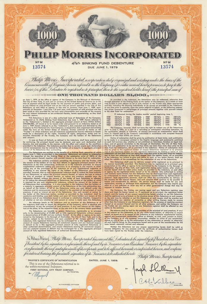 Philip Morris Incorporated Bond Certificate