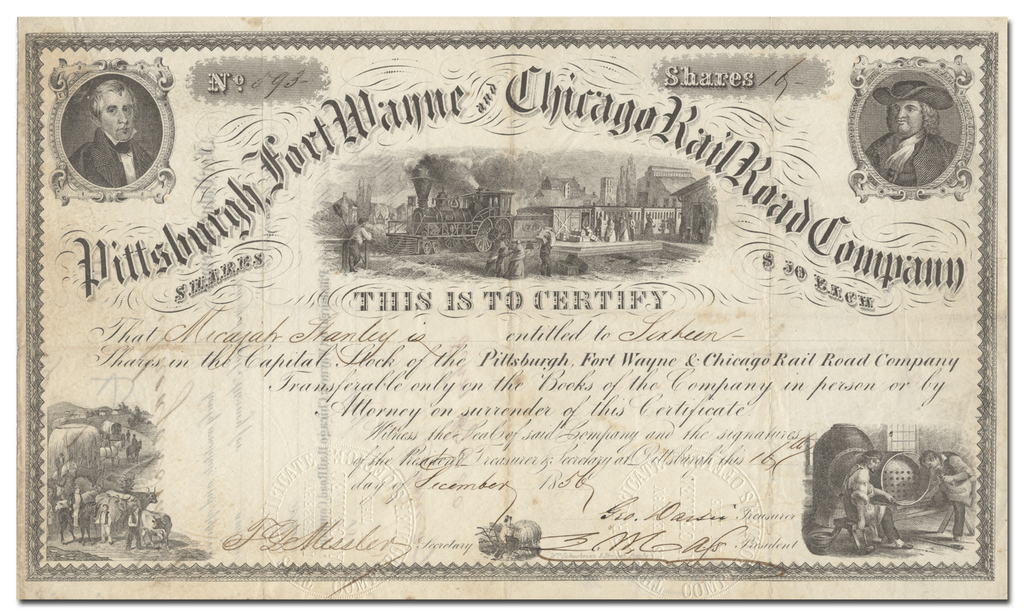 Pittsburgh, Fort Wayne and Chicago Rail Road Company Stock Certificate