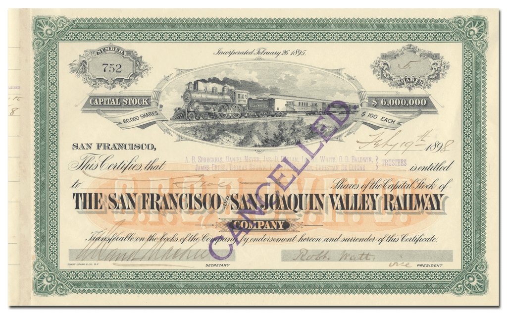 San Francisco and San Joaquin Valley Railway Company Stock Certificate