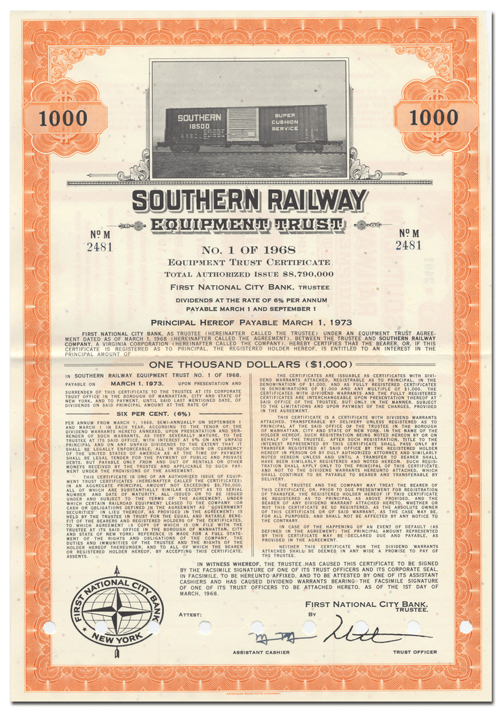Southern Railway Company Bond Certificate