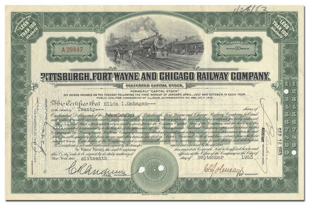Pittsburgh, Fort Wayne and Chicago Railway Company Stock Certificate