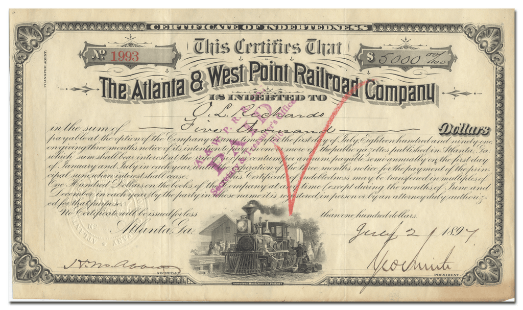 Atlanta & West Point Railroad Company Stock Certificate