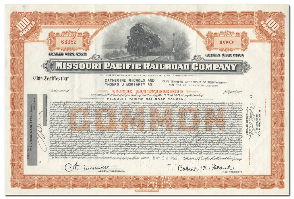 Missouri Pacific Railroad Company Stock Certificate
