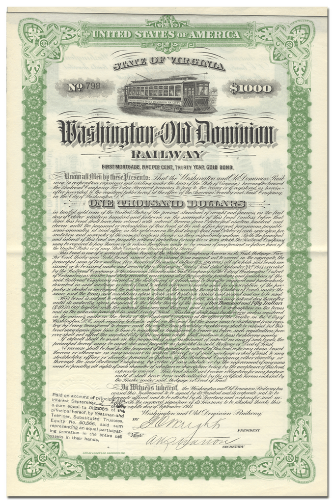Washington and Old Dominion Railway Company Bond Certificate