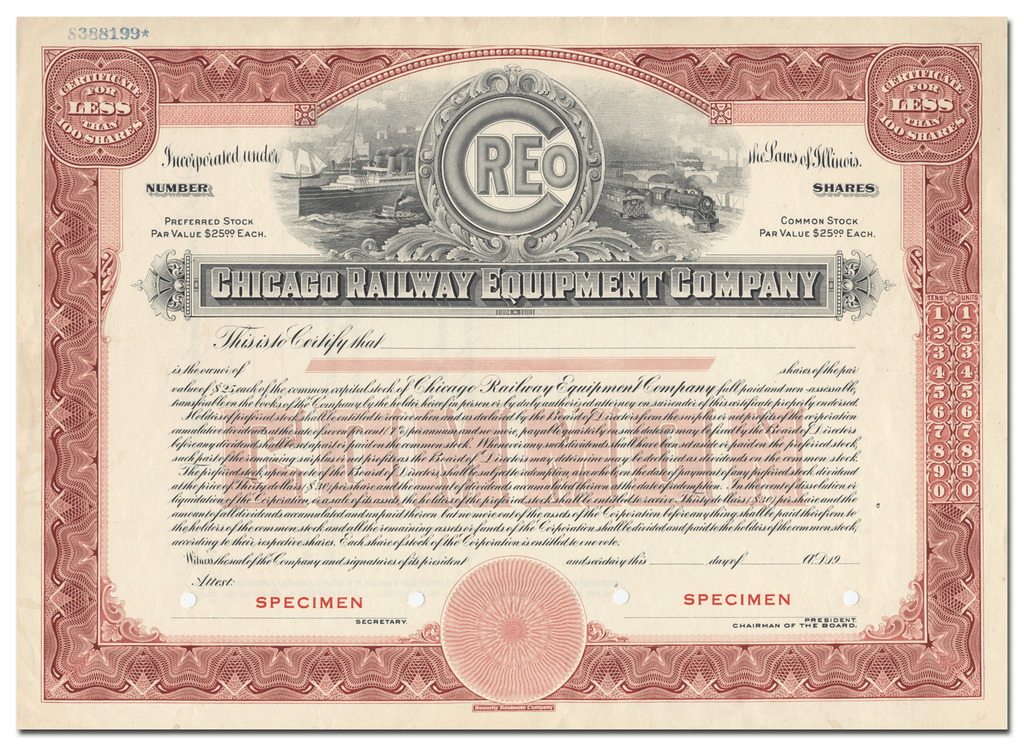 Chicago Railway Equipment Company Specimen Stock Certificate