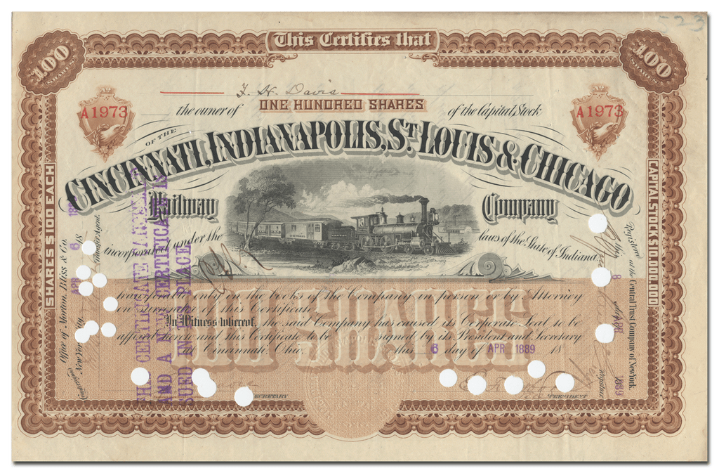 Cincinnati, Indianapolis, St. Louis & Chicago Railway Company Stock Certificate