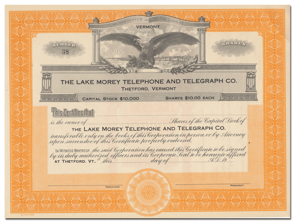 Lake Morey Telephone & Telegraph Co. Stock Certificate