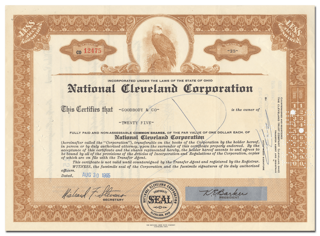 National Cleveland Corporation Stock Certificate