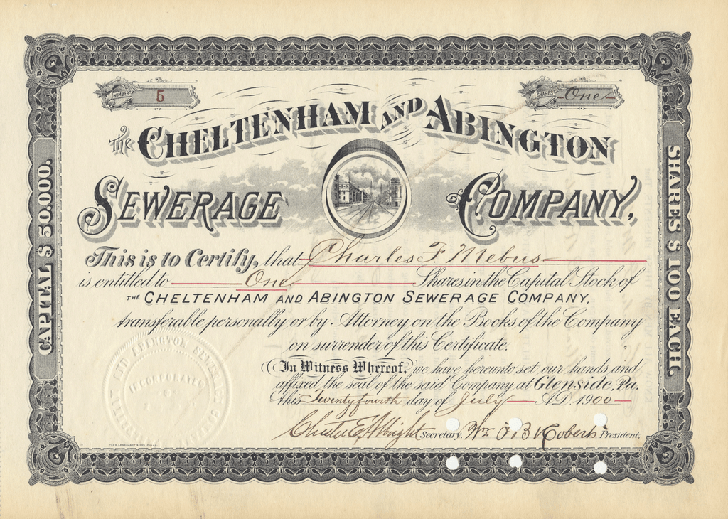 Cheltenham and Abington Sewerage Company Stock Certificate