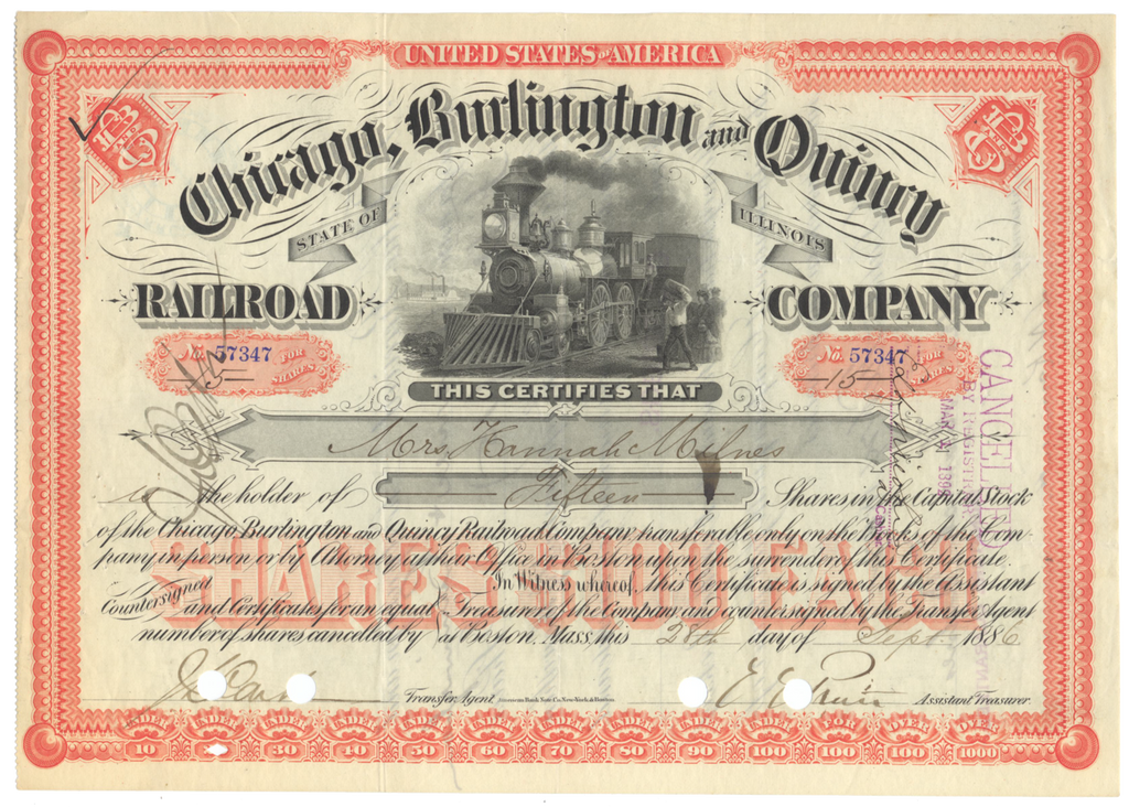 Chicago, Burlington and Quincy Railroad Company Stock Certificate