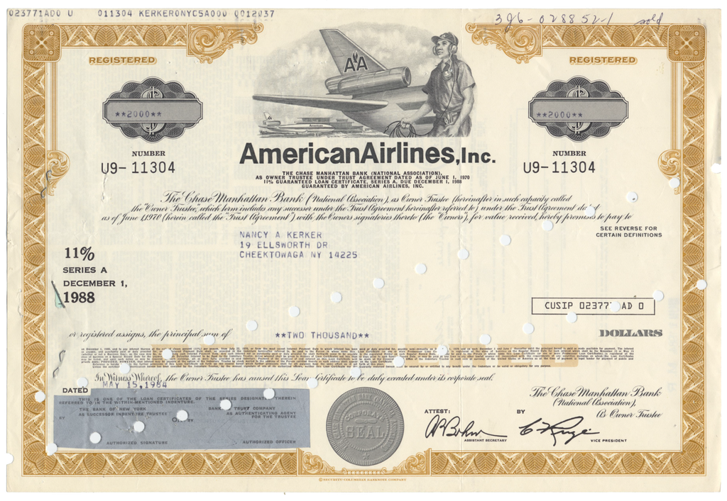 American Airlines, Inc. Bond Certificate